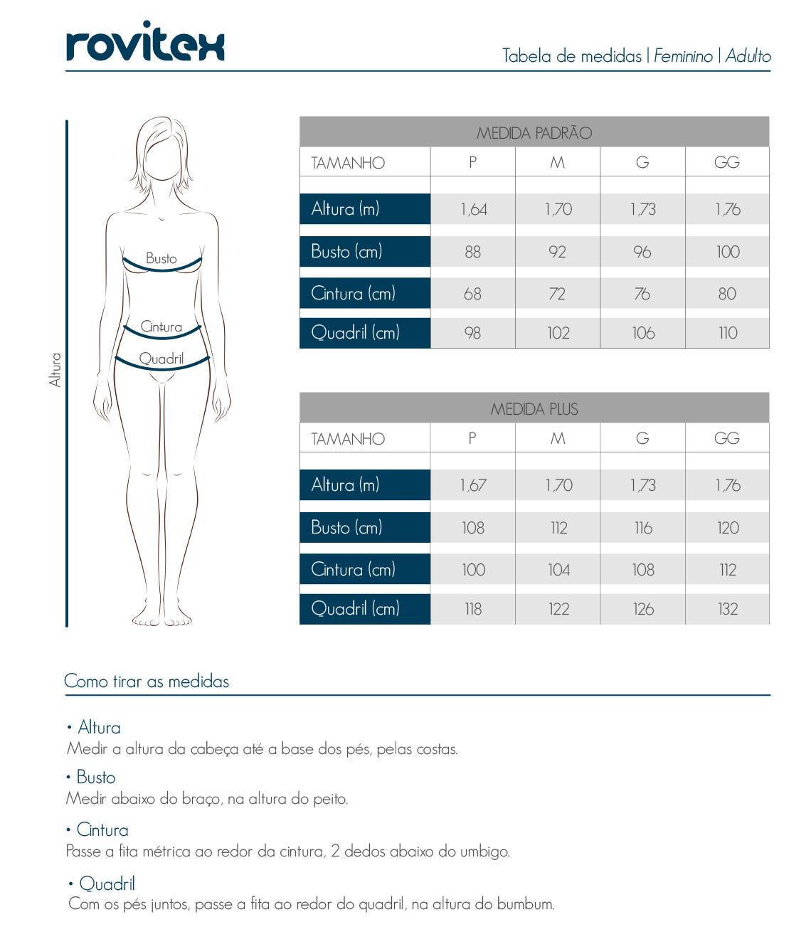 Tabela feminina Plus Size