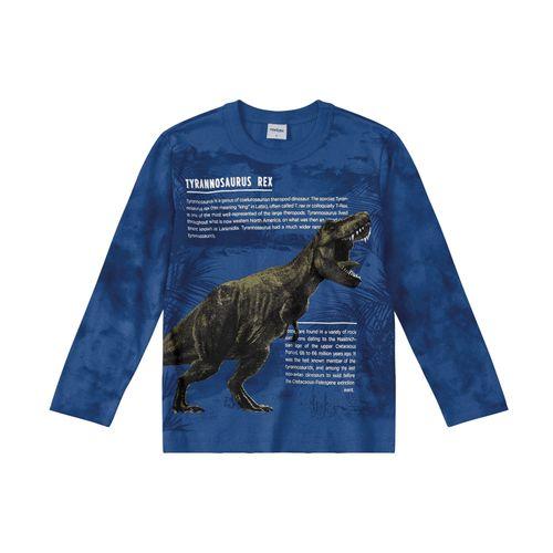 Camiseta-Infantil-Dinossauro-Rovitex-Kids-Azul