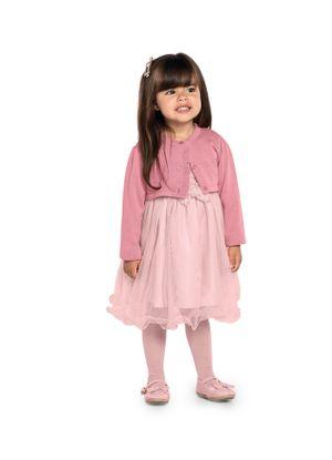 Vestido-Infantil-Tule-com-Bolero-Trick-Nick-Rosa