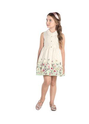 Vestido-Infantil-Estampado-Trick-Nick-Bege