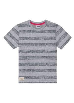 Camiseta-Infantil-Listrada-Palavras-Trick-Nick-Cinza