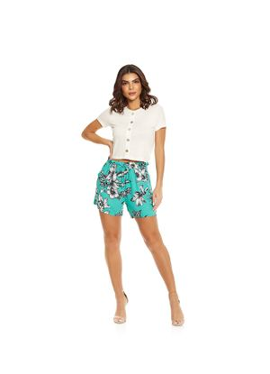 Short-Feminino-Floral-Endless-Verde