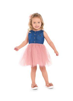 Vestido-Infantil-Jeans-com-Tule-Trick-Nick-Rosa