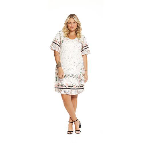 Vestido-Feminino-Estampado-Secret-Glam-Bege