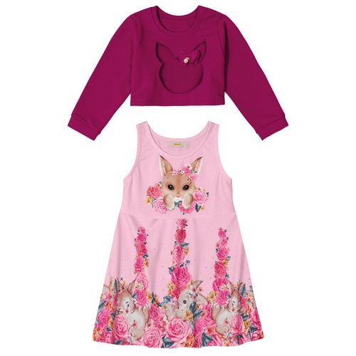Conjunto-Infantil-Vestido-e-Blusao-Trick-Nick-Rosa