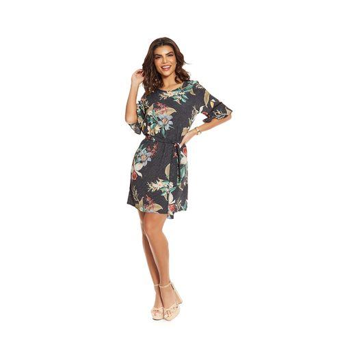 Vestido-Feminino-Curto-Estampa-Floral-Endless-Preto