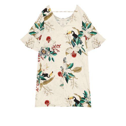 Vestido-Feminino-Curto-Estampa-Floral-Endless-Bege