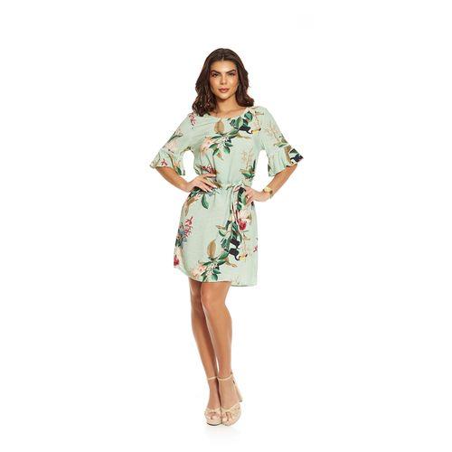 Vestido-Feminino-Curto-Estampa-Floral-Endless-Verde