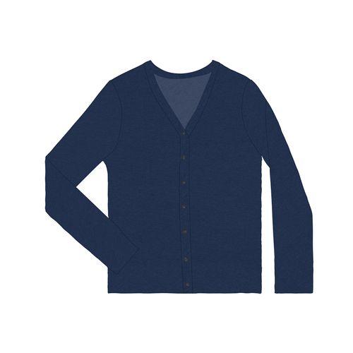 Cardigan-Feminino-Basico-Listrado-Viscose-Rovitex-Azul
