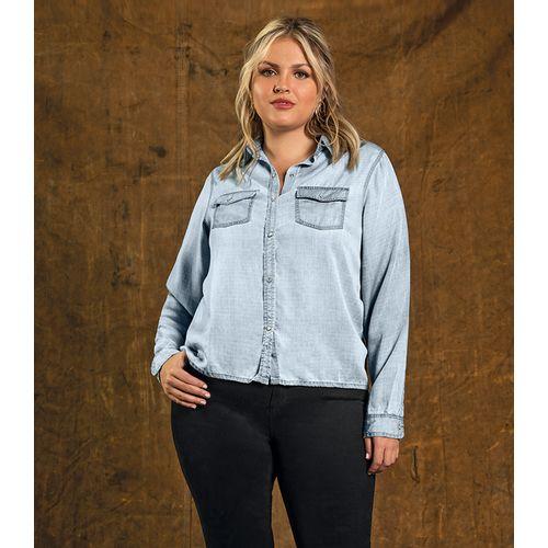 Camisa-Feminina-Jeans-Secret-Glam-Azul