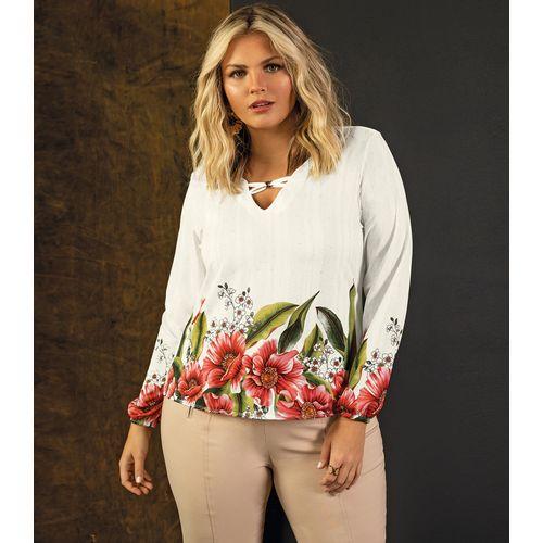 Blusa-Feminina-Estampa-de-Flores-Secret-Glam-Bege