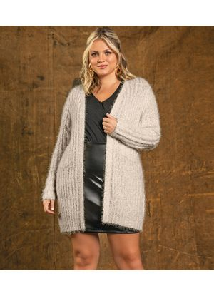 Cardigan-Feminino-Trico-Alongado-Secret-Glam-Bege