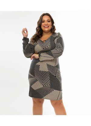 Vestido-Feminino-Estampa-Geometrica-Rovitex-Plus-Preto