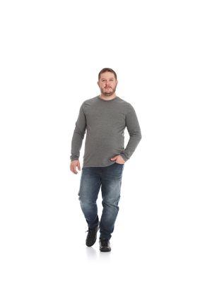 Camiseta-Masculina-Basica-Meia-Malha-Rovitex-Plus-Cinza