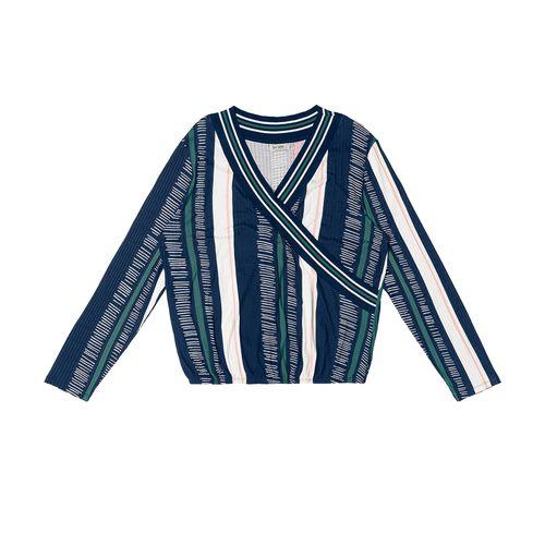 Blusa-Feminina-Transpassada-Listras-Secret-Glam-Azul
