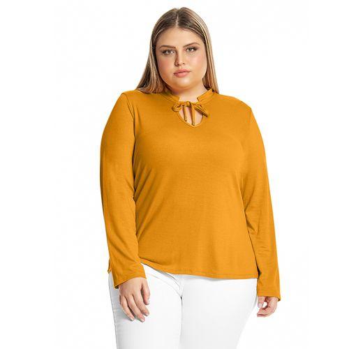 Blusa-Feminina-Detalhe-Decote-Rovitex-Plus-Amarelo