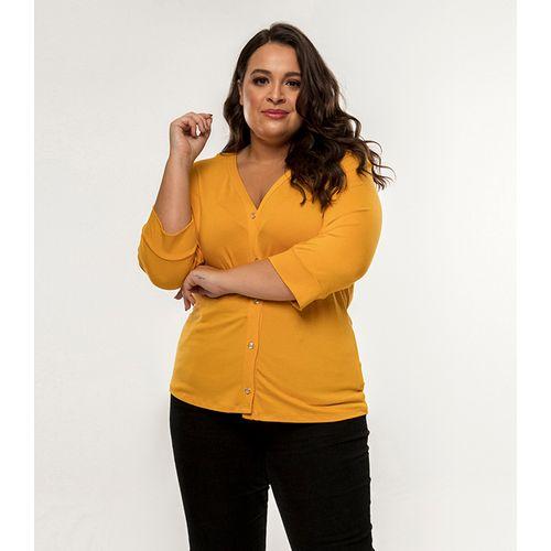 Camisa-Feminina-Manga-7-8-Rovitex-Plus-Amarelo