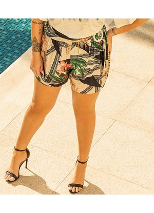 Short-Feminino-Estampado-Secret-Glam-Bege