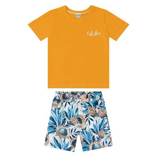 Conjunto-Camiseta-Com-Bermuda-Amarelo