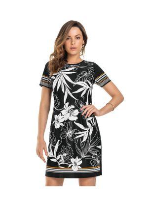 Vestido-Feminino-Estampado-Rovitex-Preto