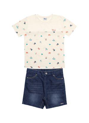 Conjunto-Camiseta-Bermuda-Infantil-Trick-Nick-Bege