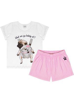 Pijama-Infantil-Feminino-Pug-Mochila-Rovitex-Kids-Branco