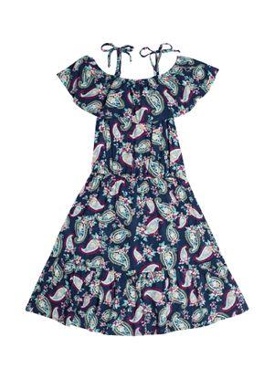 Vestido-Midi-Infantil-Estampado-Trick-Nick-Azul