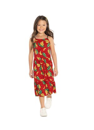 Vestido-Midi-Infantil-Estampado-Rovitex-Kids-Vermelho