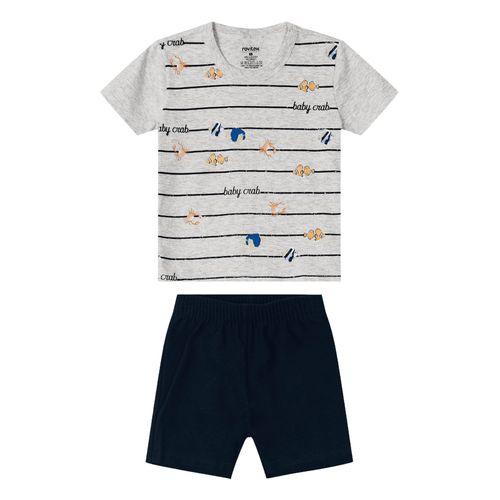 Conjunto-Camiseta-com-Bermuda-Rovitex-Kids-Cinza