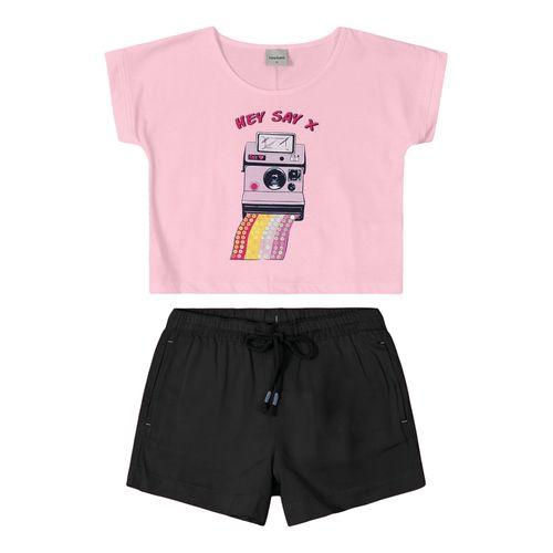 Conjunto-Blusa-Cropped-com-Shorts-Rovitex-Kids-Rosa