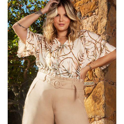 Blusa-Feminina-Plus-Size-Estampada-Secret-Glam-Bege