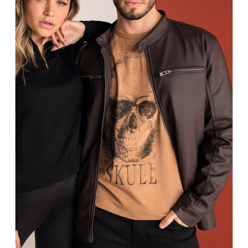 Camiseta-Masculina-Skull-Rovitex-Marrom