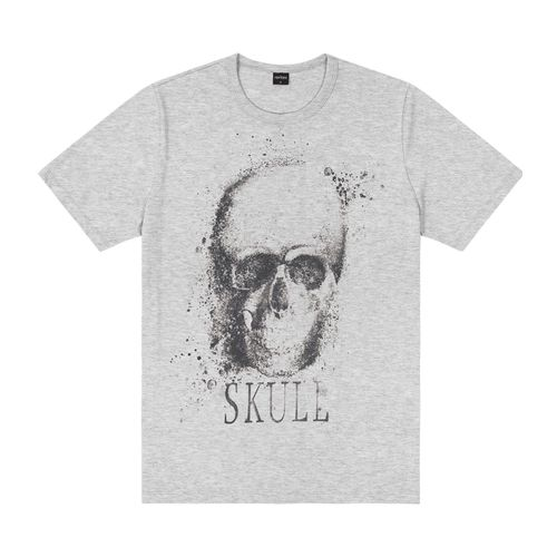 Camiseta-Masculina-Skull-Rovitex-Cinza
