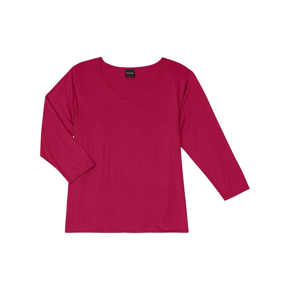 Blusa-Feminina-Basica-Manga-7-8-Rovitex-Vermelho