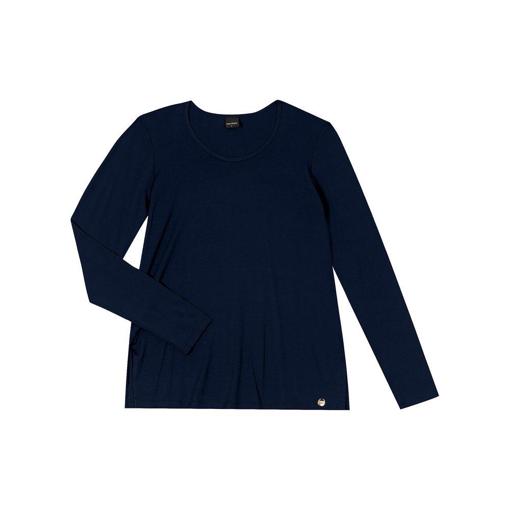 Blusa-Feminina-Manga-Longa-Rovitex-Azul