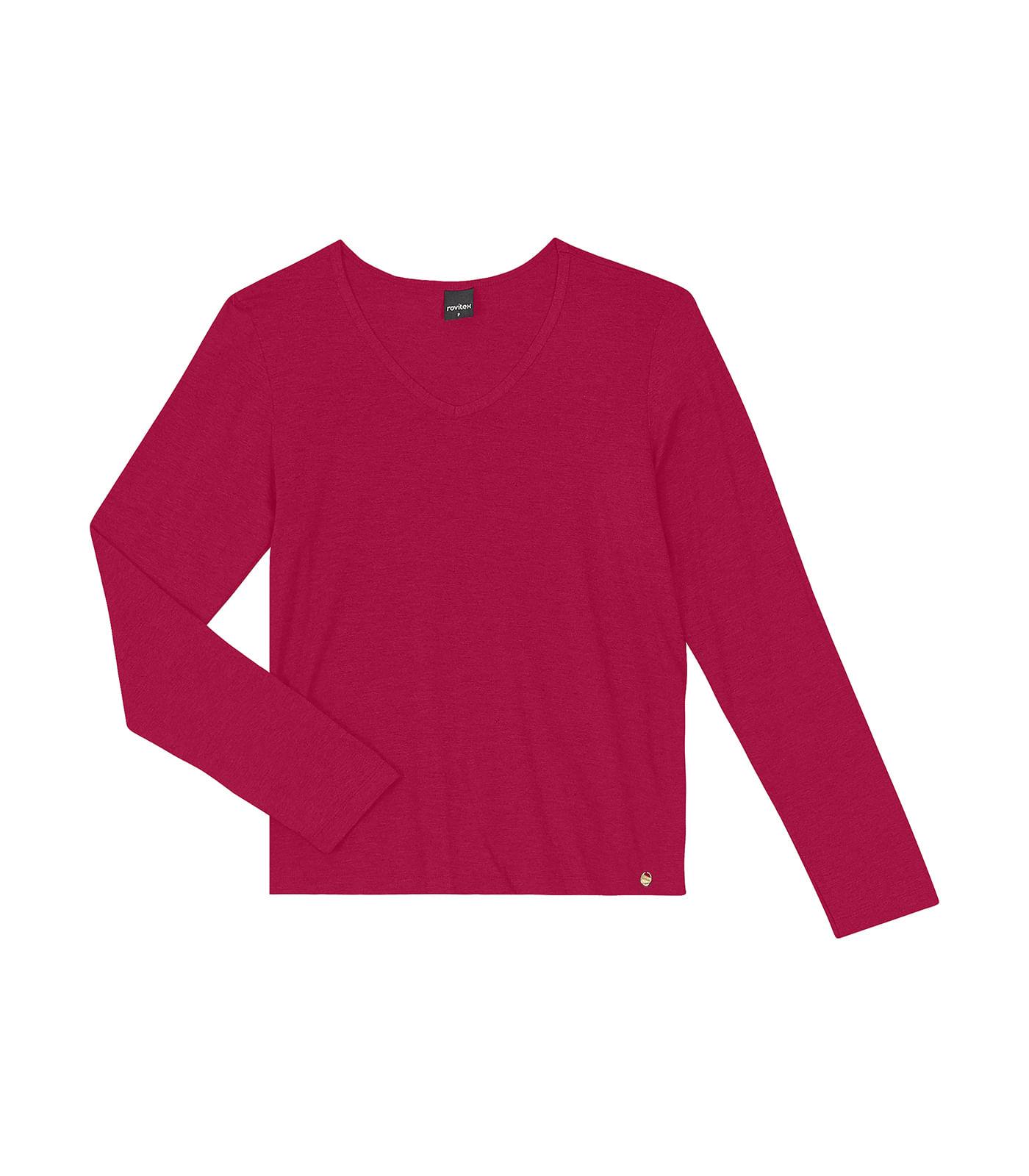 Blusa-Feminina-Manga-Longa-Rovitex-Vermelho