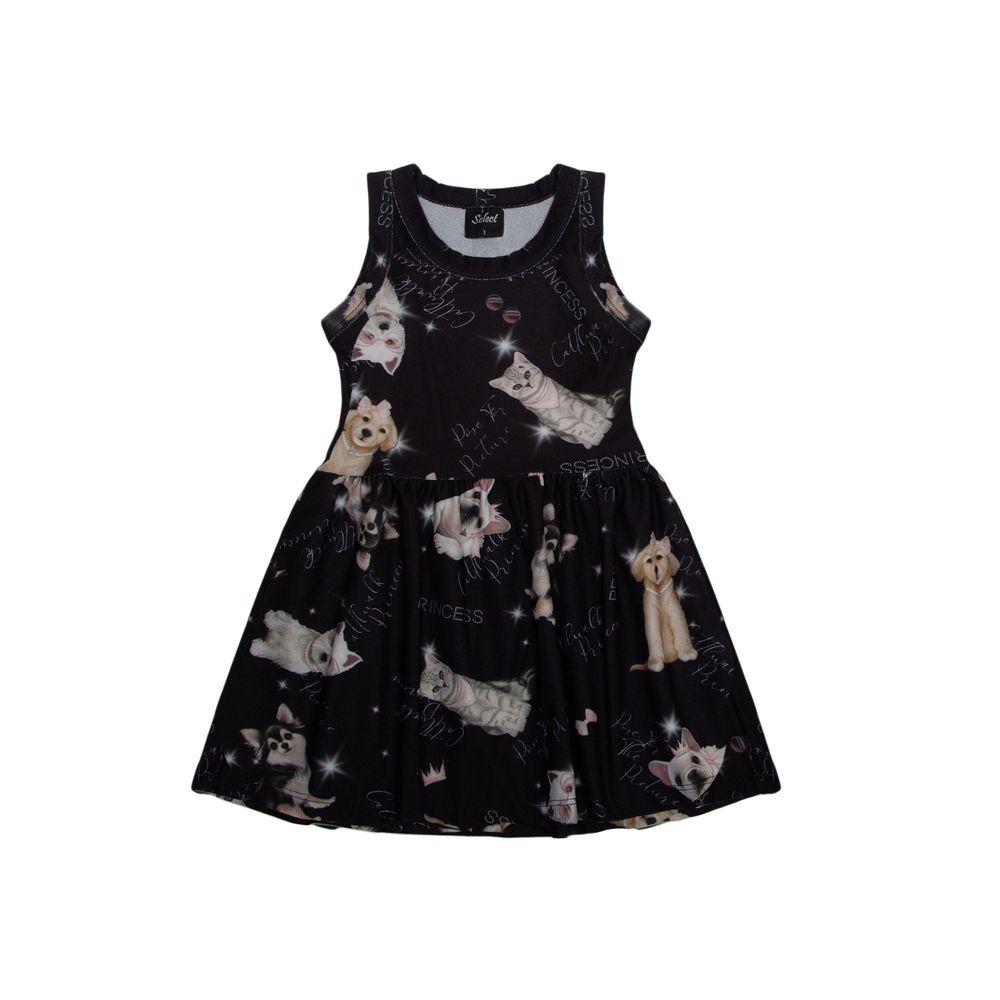 Vestido-Infantil-Estampado-Rovitex-Kids-Preto