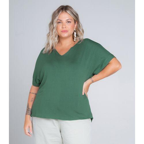 Blusa-Feminina-Plus-Size-Decote-V-Secret-Glam-Verde