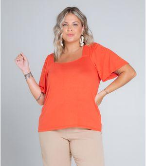Blusa-Feminina-Plus-Size-Decote-Quadrado-Secret-Laranja