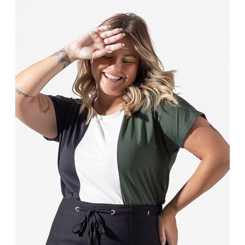 Blusa-Feminina-Plus-Size-Color-Block-Secret-Glam-Verde