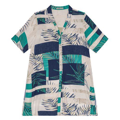 Camisa-Feminina-Plus-Size-Alongada-Secret-Glam-Azul