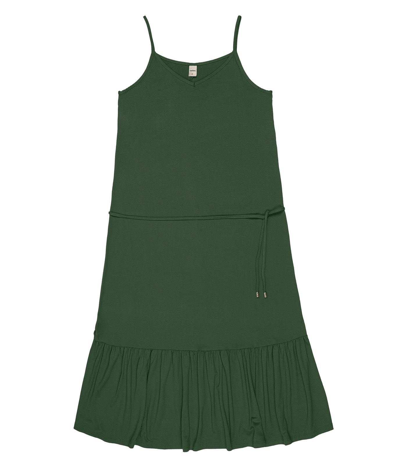Vestido-Midi-com-Babado-Rovitex-Verde