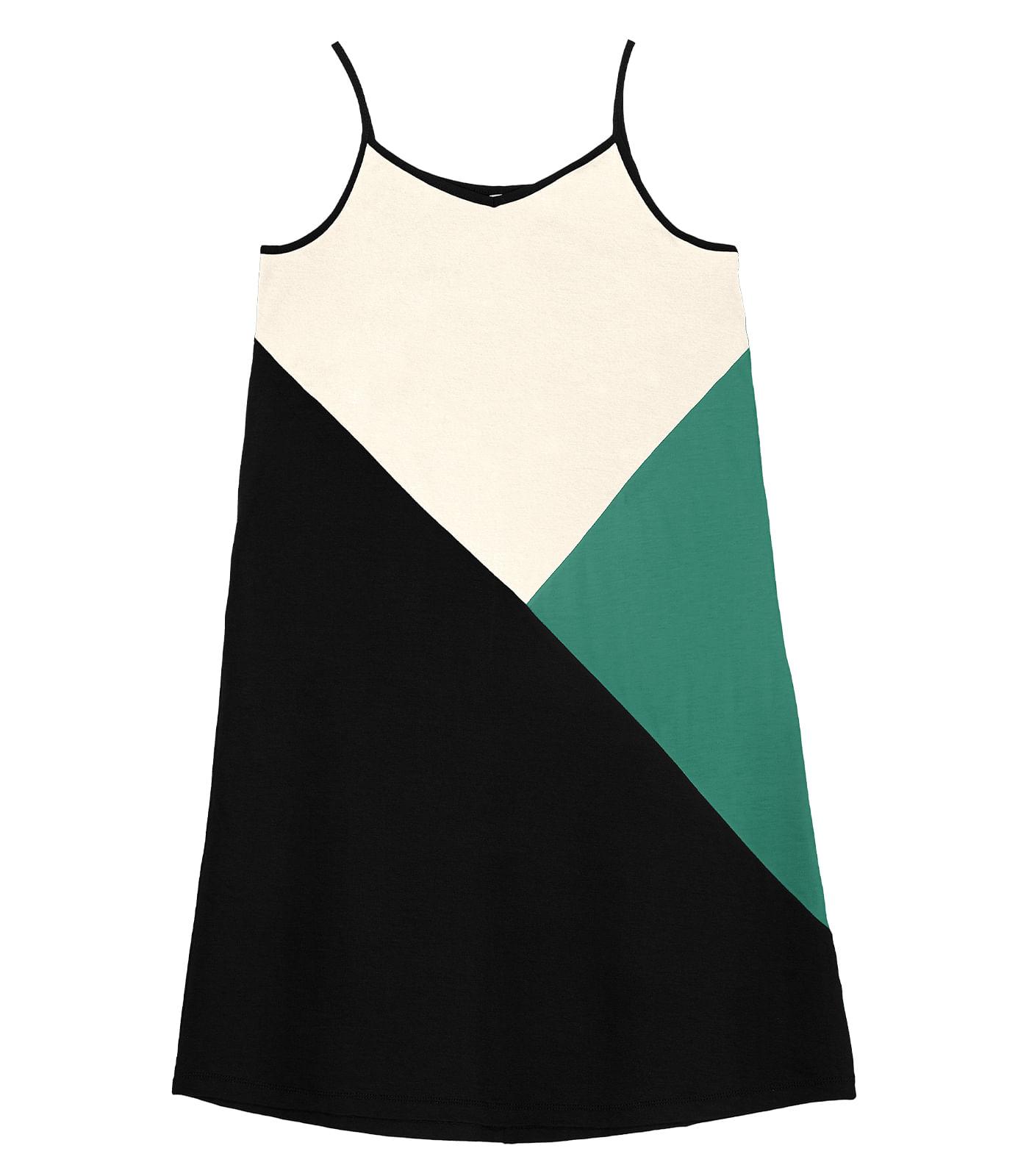 Vestido-Feminino-Curto-Tricolor-Rovitex-Preto