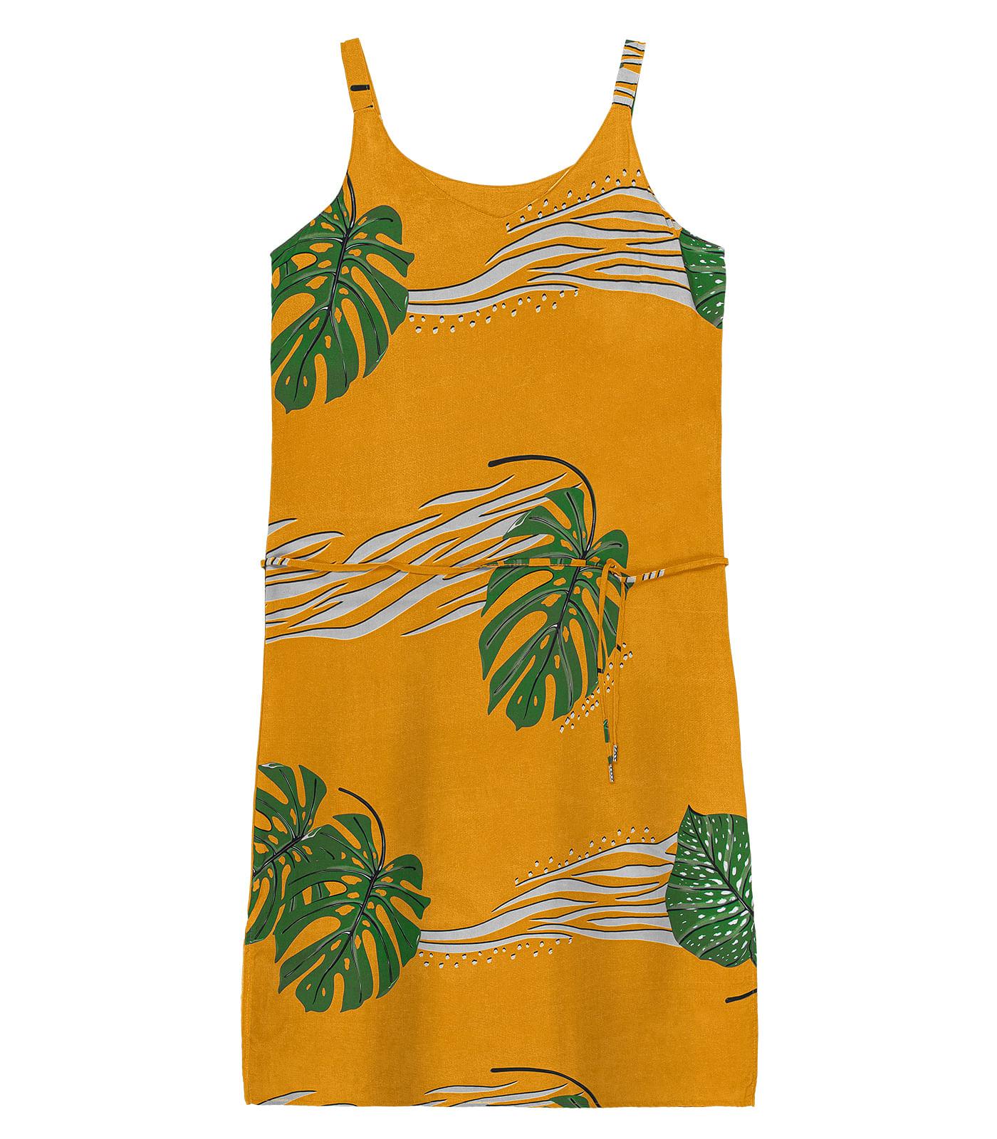 Vestido-Feminino-Tropical-Rovitex-Amarelo