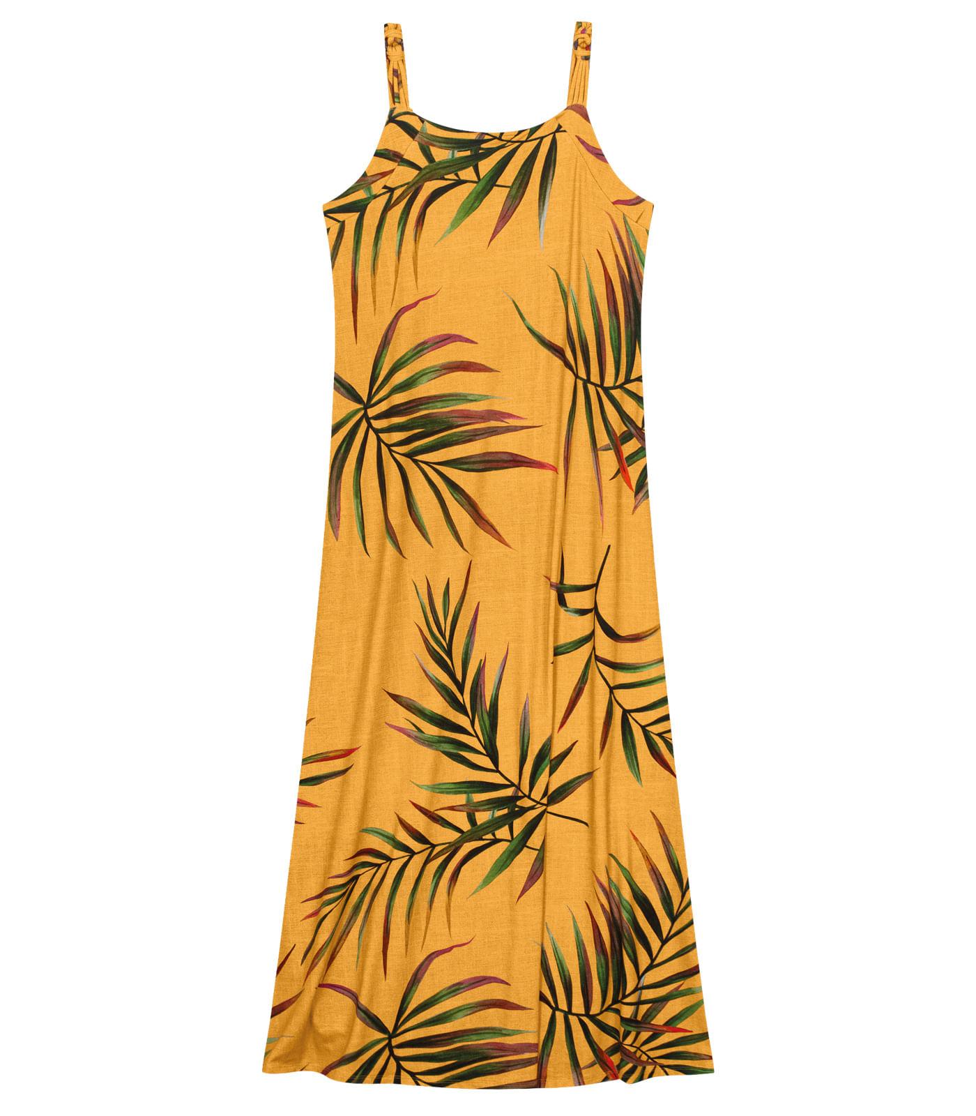 Vestido-Feminino-Longo-Folhas-Endless-Laranja