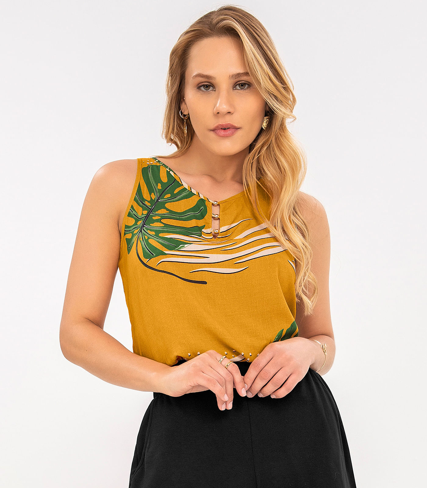 Regata-Feminina-de-Viscose-Rovitex-Amarelo