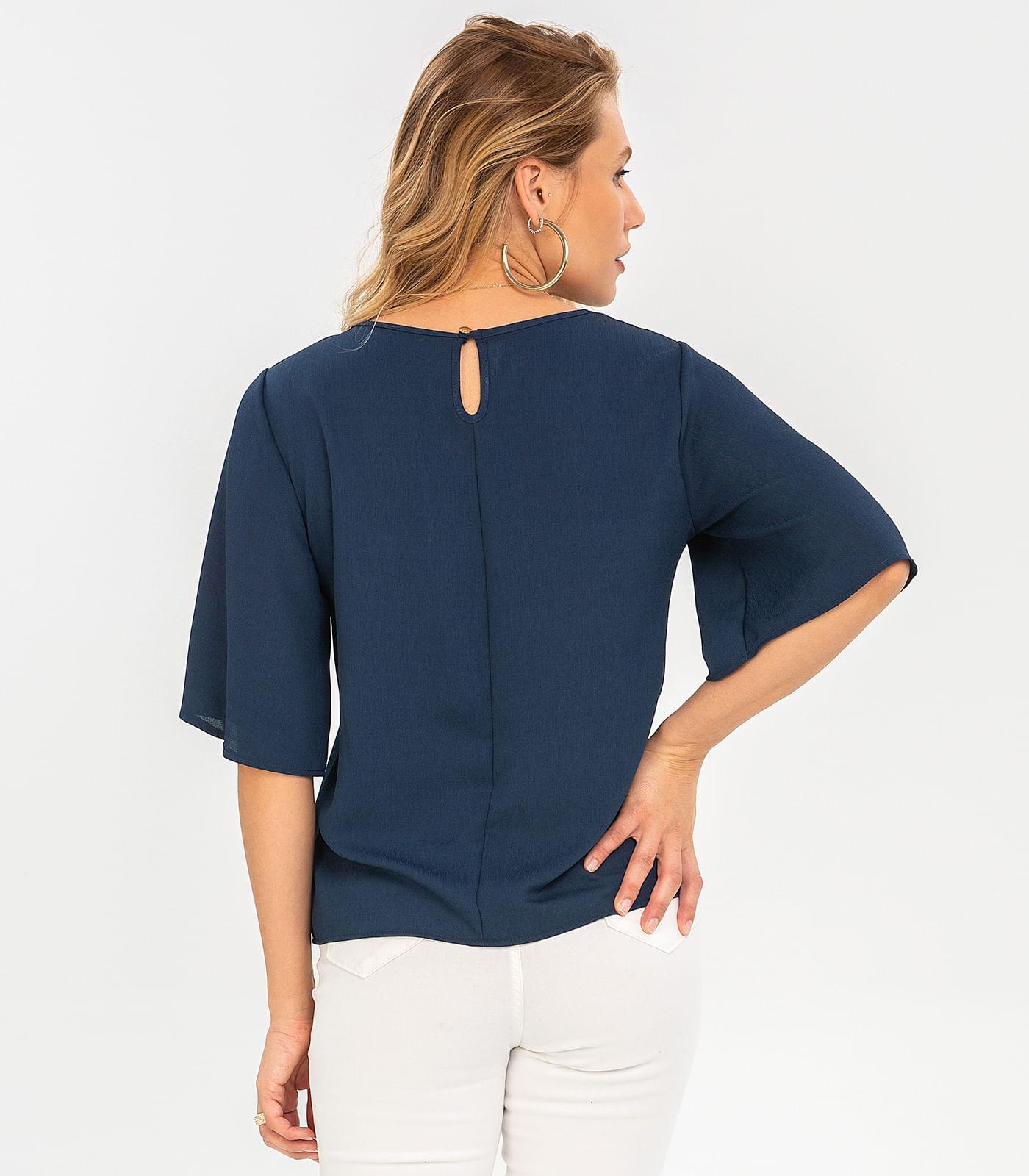 Blusa-Feminina-de-Crepe-Rovitex-Azul