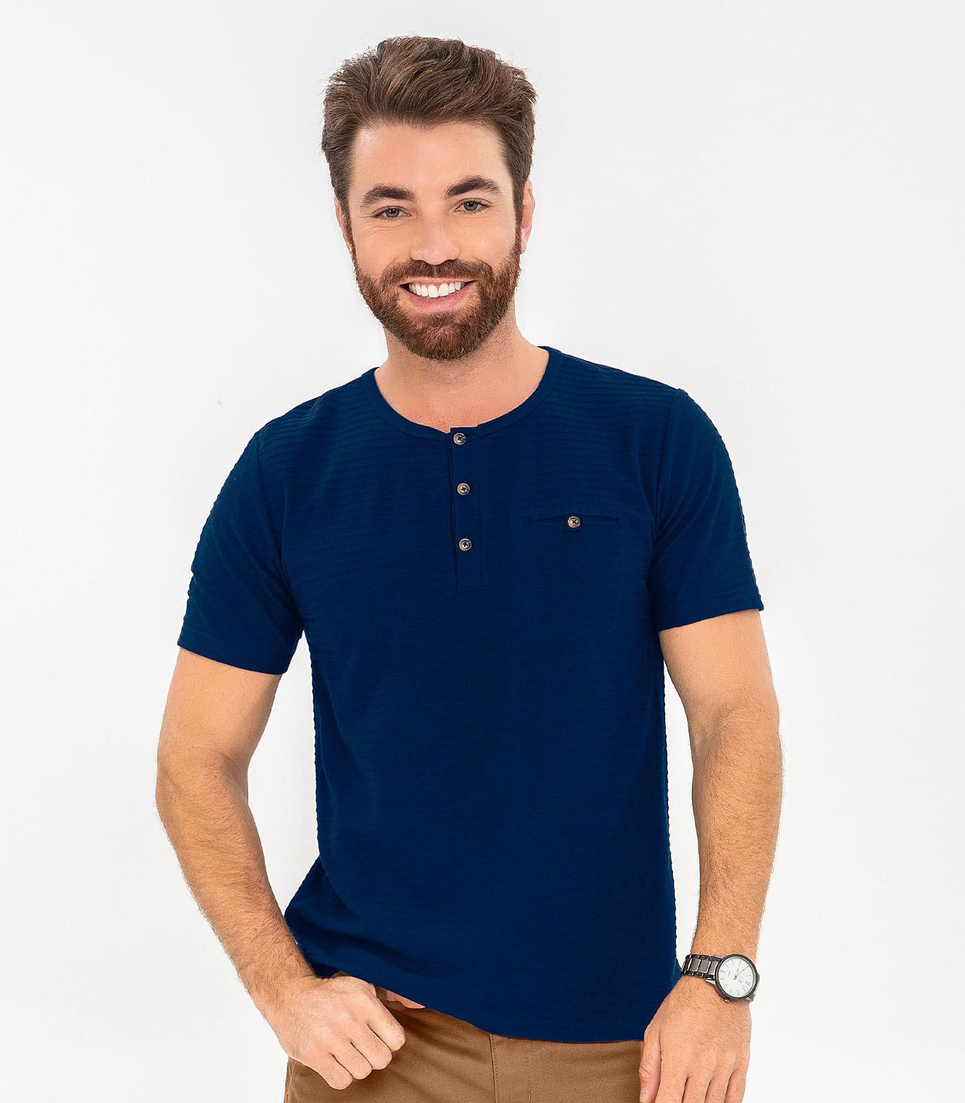 Camiseta-Masculina-Confort-Rovitex-Azul