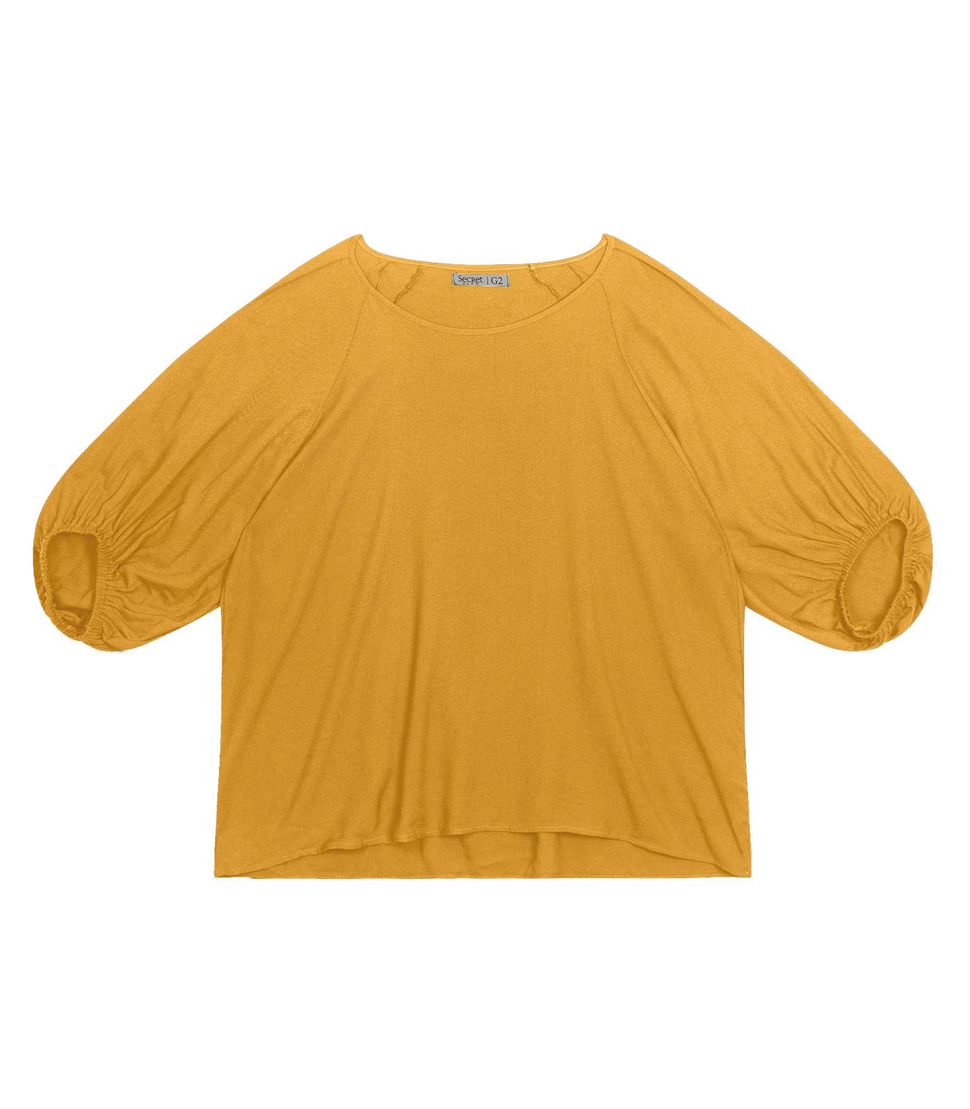Blusa-Feminina-Plus-Size-Manga-Bufante-Secret-Glam-Amarelo