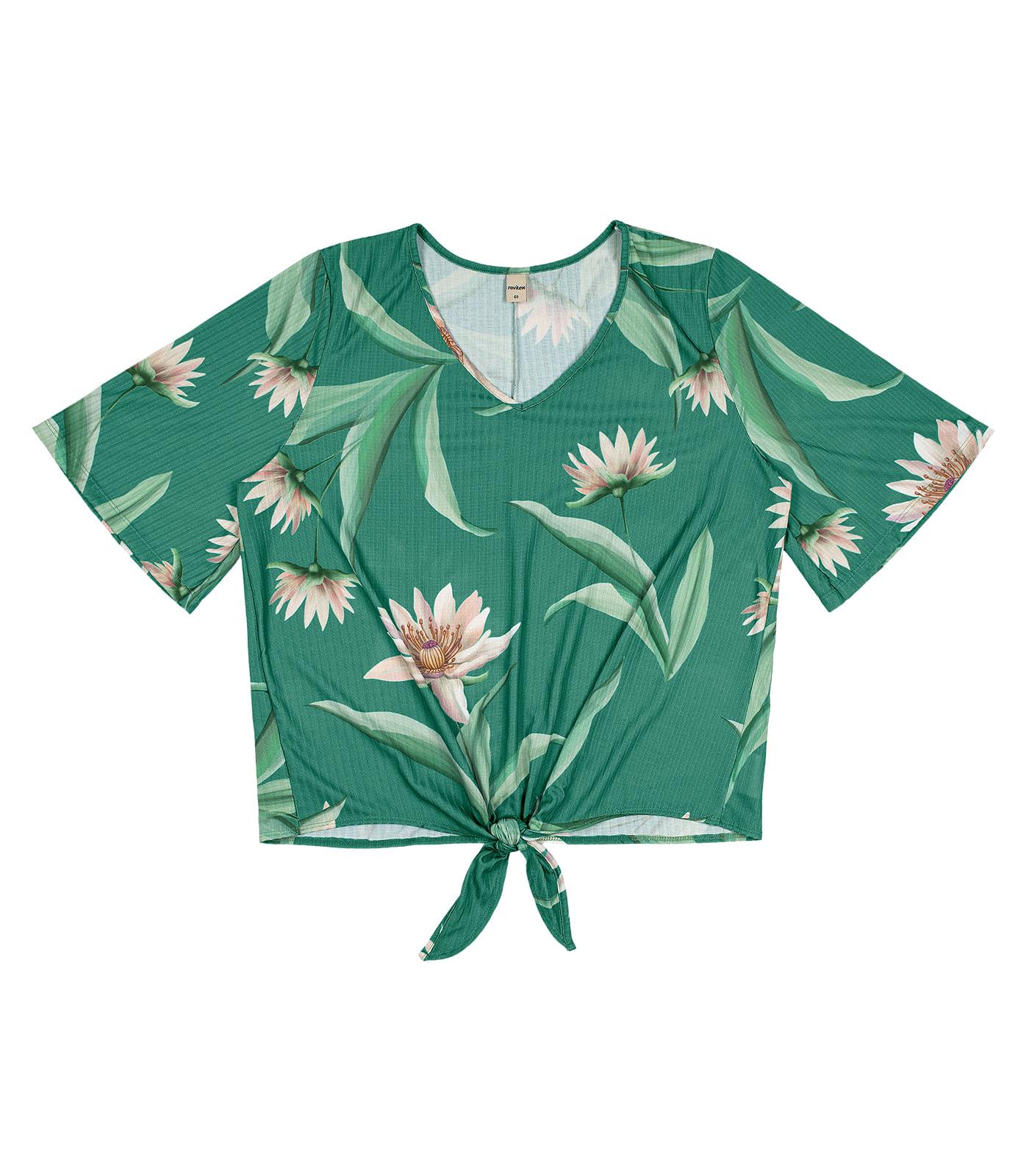 Blusa-Feminina-Plus-Size-de-Amarracao-Rovitex-Plus-Verde